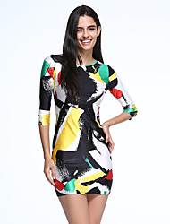 Women's  Brush Aside Print Bodycon Dress