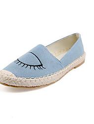 Women's Denim Cartoon Pattern Pull-on Round Closed Toe No-Heel Flats-Shoes