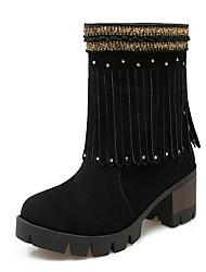 Feminino-Saltos-Plataforma Botas de Cowboy Botas de Neve Botas Montaria Botas da Moda-Salto Grosso Plataforma-Preto Amarelo Vermelho-