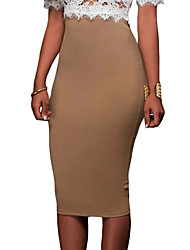 Women's Coffee Super Sleek Zipped Bodycon Skirt
