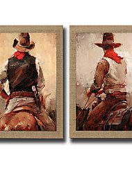 2Panel Modern Wall Art Abstract Oil Painting Cowboy Hand Painted On Natural Linen With Stretched Frame