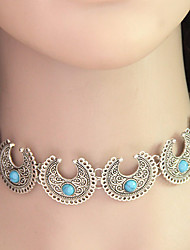 Women Hot Boho Collar Choker Silver Necklace Fashion Vintage Ethnic Style Bohemia Turquoise Beads Neck 1pc
