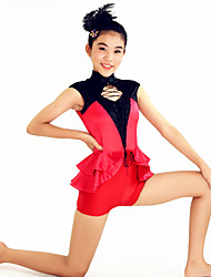 Jazz Unitards Women's / Children's Performance Spandex /  Cascading Ruffle 2 Pieces Red Jazz/ Short Sleeve Natural