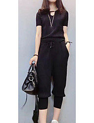 Women's Going out Simple Summer Blouse PantSolid Round Neck Short Sleeve Black /