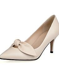 Women's Heels Spring Summer Fall Leather Outdoor Low Heel Bowknot Black White Beige Walking