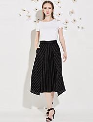 j&d femmes qui sortent ensemble d'été simple, pantstriped col rond manches courtes milieu de polyester blanc