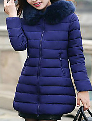 Women's Solid Blue / Pink / Red / White / Green Down Coat,Simple / Cute / Street chic Hooded Long Sleeve