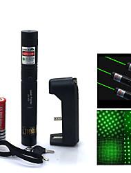 feixe verde de alta potência jd303 ponteiros laser ajustável caneta (5mW, 532nm, 1x18650 Bateria + carregador) preto