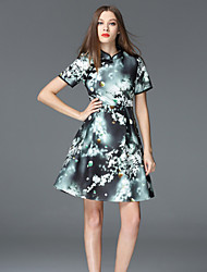 FRMZ  Casual/Daily Chinoiserie Sheath DressFloral Stand Above Knee Short Sleeve Green Polyester