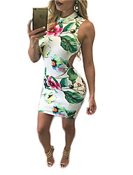 Women's Going out / Party/Cocktail / Club Sexy Bodycon DressFloral Round Neck Above Knee Sleeveless White