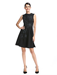 TS Couture Cocktail Party Prom Dress - Little Black Dress A-line Jewel Short / Mini Chiffon with Appliques