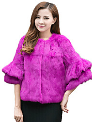 Women's  Fur Coat,Solid Round Neck ¾ Sleeve Fall / Winter,Lady Rabbit Fur Coat