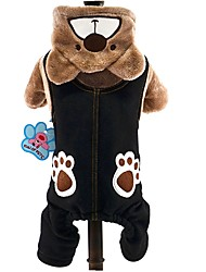Paw Prints Bear Flannel Brown Gray-Navy Blue Warm Coat For Pet Dogs Dog Clothes
