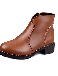 Women's Boots Fall / Winter Combat Boots Leatherette Office & Career / Casual Low Heel Slip-on  Walking