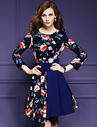 Women's Going out Sophisticated Sheath DressFloral Round Neck Knee-length  Sleeve Blue Nylon Fall