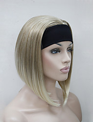 New Fashion Blonde Mix 3/4 Wig With Headband Women's Short Straight Synthetic Half Wig