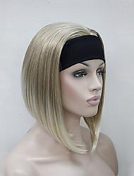 nieuwe mode blonde mix 3/4 pruik met de hoofdband vrouwen korte rechte stuk en synthetische half pruik