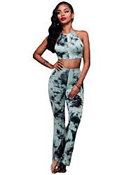 Women's Black Ruffle Lace Crop Top Wide Leg Pant Set
