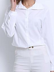 Damen Solide Einfach Lässig/Alltäglich T-shirt,Hemdkragen Sommer Langarm Blau / Rosa / Rot / Weiß / Grün / Orange / Gelb / Lila Baumwolle