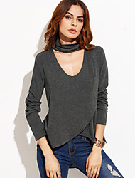 Women's Going out Simple All Seasons T-shirt Solid V Neck Long Sleeve