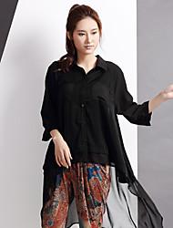 Yishidian® Damen Hemdkragen 3/4 Ärmel Shirt & Bluse Schwarz-YSD1401