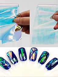 1pcs Holographic Paper Broken Glass Foils Finger Nail Art Mirror Stickers Glitter Stencil Decal