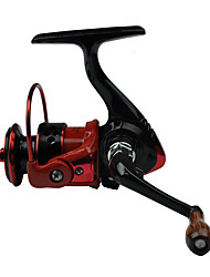 FDDL Mini Metal Fishing Spinning Reel 121 Ball Bearing Gear Rate 4.81 Interchangeable Handle Black & Red