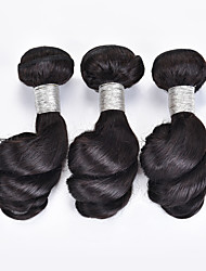 Top Selling 3Pcs/Lot 150g 8-12inch Brazilian Virgin Hair Loose Wave Natural Black Unprocessed Human Hair Weaves