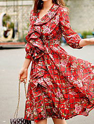 Women's 2016 New Spring Vintage Red Printed Holiday Floral A Line Dress , Sweetheart Above Knee
