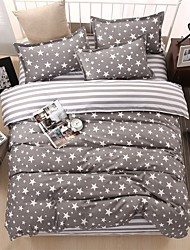 Bedtoppings Comforter Duvet Quilt Cover 4pcs Set Queen Size Flat Sheet Pillowcase Grey Stars Prints Microfiber