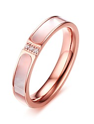 Women's Fashion Sweet Zircons Shell Material Stainless Steel High Polished  IP Rose Gold Plating Band Rings(1Pc)