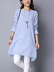 Women's Casual Street chic A Line / Loose DressStriped Asymmetrical Long Sleeve Blue / Gray Cotton / Linen Spring / Fall