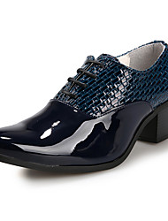 Men's Oxfords Pointed Toe Patent Leather Party & Evening / Dress Wedge Heel Lace-up Black / Blue / White EU38-43
