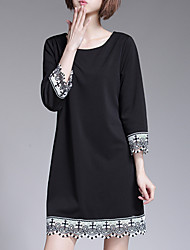 Women's Vintage / Street chic Print Plus Size / A Line Dress,Round Neck Mini Cotton / Polyester