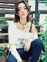Aporia.As® Femme Epaules Dénudées Sans Manches T-shirt Blanc-MZ03105