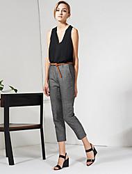 c + impressionar sólida pantssimple fino cinzento das mulheres