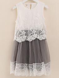 Vestido Chica de-Noche-Un Color-Algodón-Verano-Morado / Gris