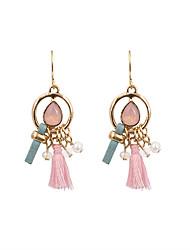 Fashion Women Trendy Stone Set Pearl Fabric Tassel Drop Earrings