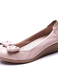 Feminino-Mocassins e Slip-Ons-Conforto / Arrendondado-Anabela-Preto / Rosa / Branco-Pele-Escritório & Trabalho / Casual