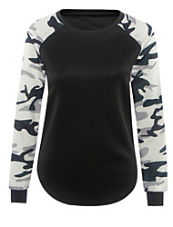 Damen camuflaje Einfach / Aktiv Lässig/Alltäglich T-shirt,Rundhalsausschnitt Frühling / Herbst Langarm Schwarz Polyester Dünn