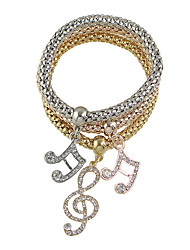 Multicolors Chain Link Bracelets with Rhinestone