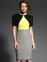 Baoyan Women's Round Neck 3/4 Length Sleeve Knee-length Dress-13282