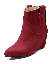 Feminino-Saltos-Botas de Cowboy Botas de Neve Botas Montaria Botas da Moda-Rasteiro-Preto Vermelho Cinza-Sintético Couro Envernizado