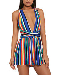 Women's Striped Multi-color JumpsuitsSexy / Simple V Neck Sleeveless