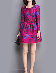 Women's Casual/Daily Sophisticated Sheath DressFloral Round Neck Above Knee Long Sleeve Purple Polyester Fall