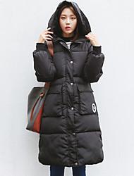 Women's Print Black Down Coat,Street chic Hooded Long Sleeve