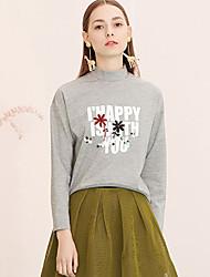 Damen Buchstabe Einfach Lässig/Alltäglich T-shirt,Rollkragen Frühling / Herbst Langarm Grau Kunstseide / Polyester / Elasthan