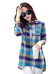 Damen Verziert Einfach Lässig/Alltäglich T-shirt,Hemdkragen Frühling / Herbst Langarm Blau Polyester Mittel