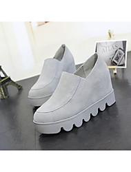 Damen-Loafers & Slip-Ons-Lässig-Kunststoff-Blockabsatz-Komfort-Weiß Schwarz