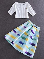 Damen Druck Niedlich Ausgehen T-shirt Rock,Rundhalsausschnitt Sommer Kurzarm Weiß Baumwolle / Leinen Mittel